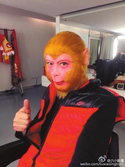 """六小龄童个人微博晒出的""""美猴王""""扮相。"""